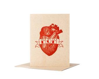 Mom Card / Mother's Day Card / Letterpress Card / Mom Valentine / Funny Mom Card / Mom Heart Tattoo / Mom Birthday Card / Blank Card