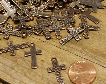 Hammered Antique Copper Finish Cross Charms