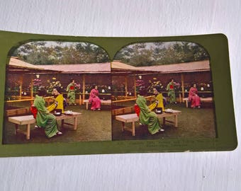 Flowers & Tea Geisha Afternoon Antique Stereopticon Stereoscope Stereo Viewer Slide Card -- Vintage Japanese Culture Asia History Photograph