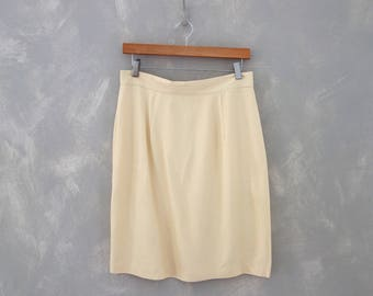 VTG White Pencil Skirt Sz M