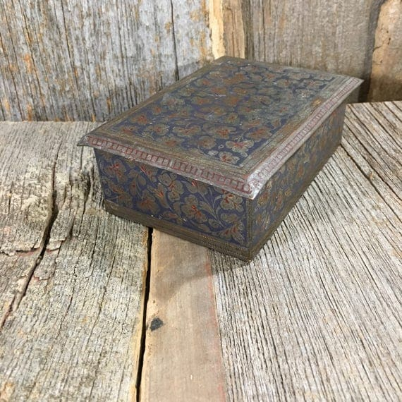 Vintage metal floral designed trinket boxmade in India with markings 2411/c,  beautiful designed metal and wooden box, mid century metal box