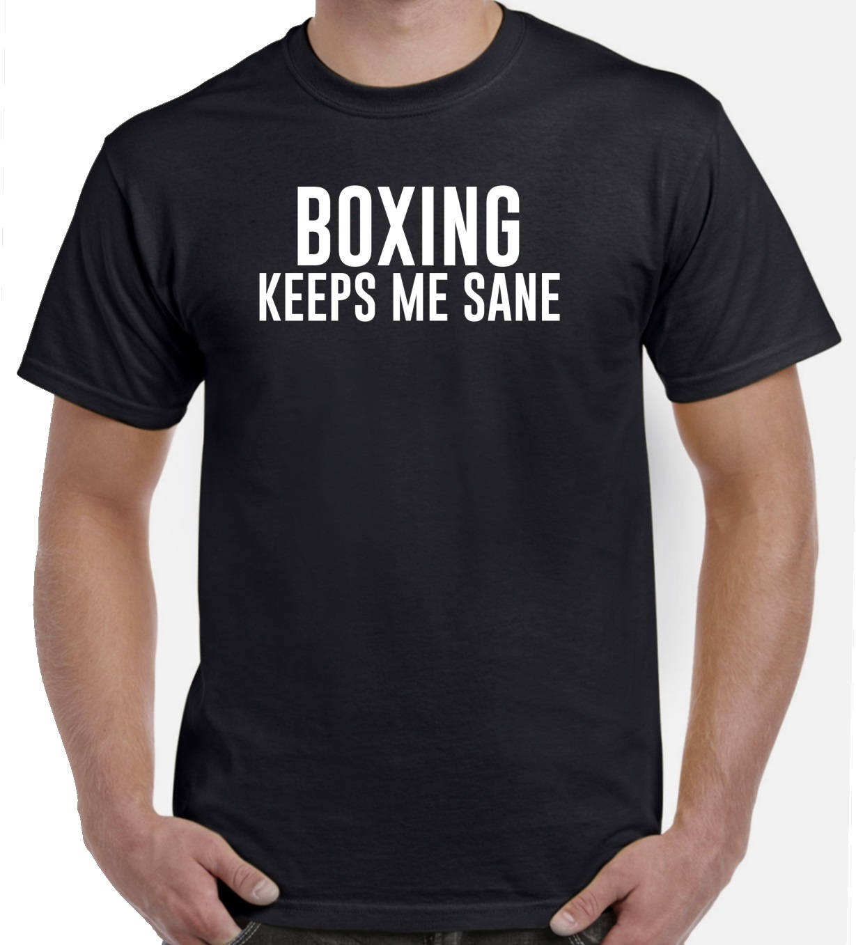 Boxing keeps me sane funny boxing shirt gift for Custom boxing t shirts