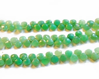 Petite chrysoprase faceted briolettes.  Approx. 4.75x4.75mm.  Select a quantity.