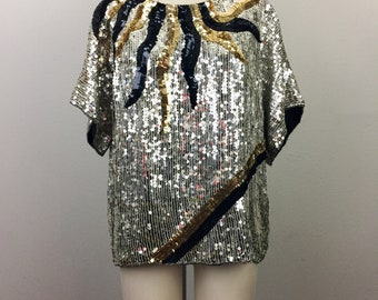 Vintage 90s Sequin Party Top Silver Gold Black Silk Blouse M/L