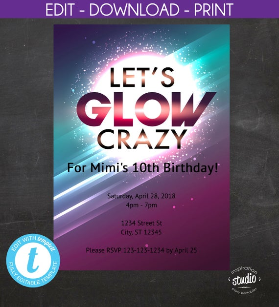 2020 Let S Glow Crazy Theme Kit: Glow Party, Let's Glow Crazy, Glow In The Dark Party, Girl