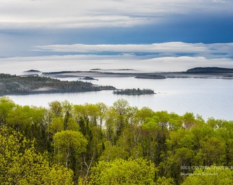 Lake Superior North Shore, Fog, Spring Landscape, Clouds, Islands, Nature Photography, Fine Art Print, Blue Green, Healing Art, Minnesota