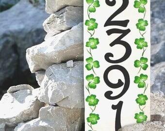 Vertical Clover house number plaque, Irish house numbers, porcelain house numbers, St Patricks Irish shamrock design,  green outdoor signs