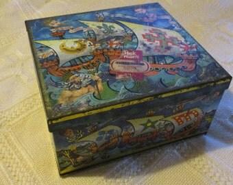 Vintage Peek Frean Three Ships Biscuit Tin 1960's Poseidon Cherubs Seahorses Mermaids Dolphins