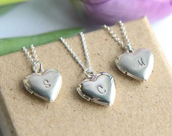 Heart Locket, Personalized Heart Necklace, Personalized Locket Necklace, Initial Locket, Silver Locket Heart, Heart Necklace, Wedding Gift