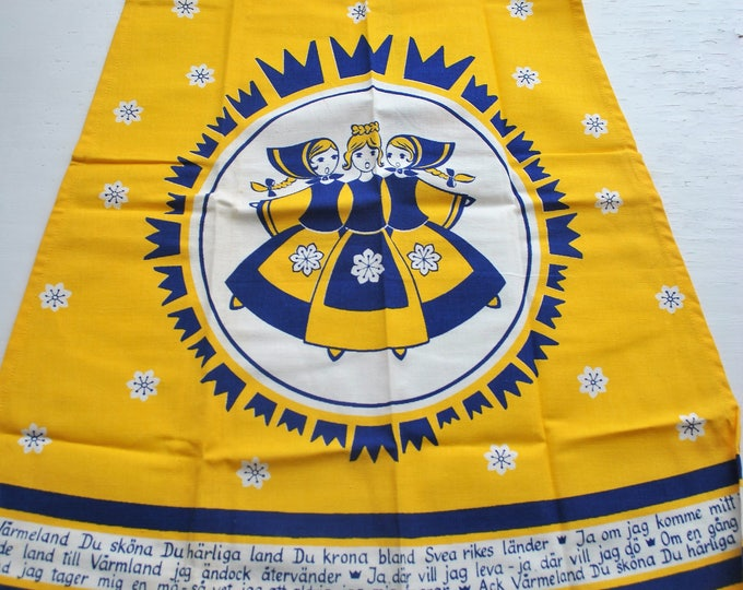 Swedish Apron Folk Song Dear Old Stockholm 3 Crowns Tre Kronor Yellow and Blue