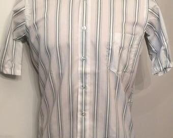 Vintage MENS 1970s Enro striped short sleeve shirt, size M, dead stock