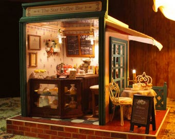 Coffee bar * Coffee shop * cafe * Light and music * DIY Handcraft Miniature Project * Wooden Dolls House Kit * Birthday Gift