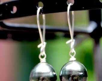 Tahitian Pear Drop Earrings on a Sterling Silver Kidney Wire