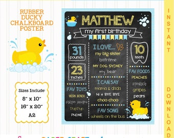 Rubber Ducky Printable Chalkboard Sign | 1st 2nd 3rd Birthday | Personalized Poster | Instant Download & Edit in Adobe Reader | Rubber Duck