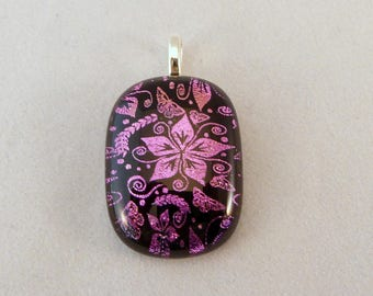 Pink and Black Dichroic Fused Glass Pendant, Fused Glass, Fused Glass Pendant, Dichroic Pendant, Dichroic, Pendant, Flower, Pink, Pendent
