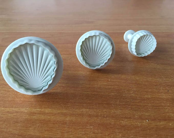 3 pc Seashell Shell Cookie Cutter Plunger Mold Set - E643 - Sea Shells Biscuit Candy Fondant Cutter