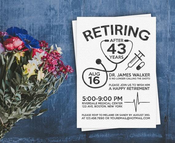 Doctor retirement invite personalized printable doctornurse il570xn solutioingenieria Images