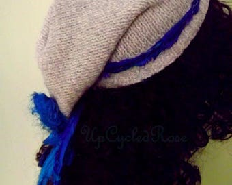 Re-purposed Up-cycled Sweater Slouch Hat Bohemian Couture Eco Friendly Ready to Ship