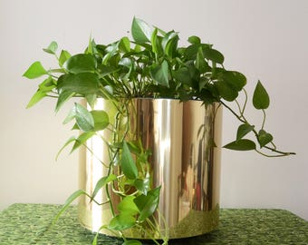 vintage large plastic shiny gold planter