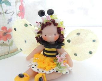 Lovely lIttle Bee Bug Fairy Miniature Whimsical  Girl
