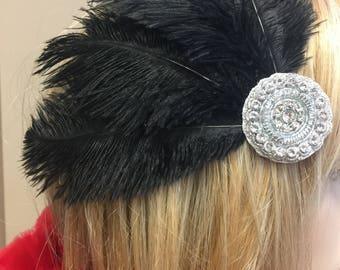 Custom Made Rhinestone Ostrich Feather Headdress Fascinator Hair Clip with Flowers & Crystal Rhinestones