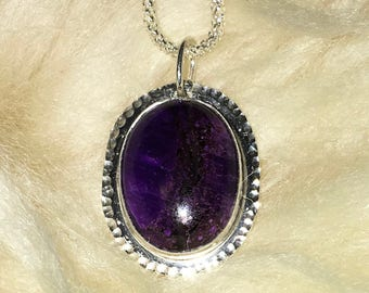 SUGILITE and STERLING SILVER  Pendant on Sterling Silver chain R454