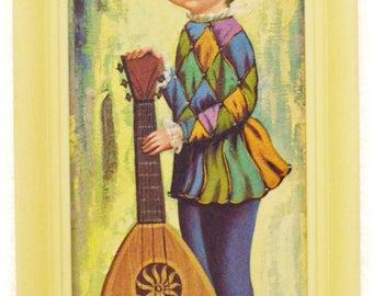 Vintage 60s Big Eye Kid Art Moppet Harlequin Boy w/ Mandolin Mod Kitsch Framed Lithograph