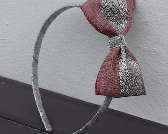 Pink Hard Headband, Pink Headband, Silver Glitter Bow Headband, Plastic Headband, Sparkle Bow, Girls Headband, Girl Hair Bow