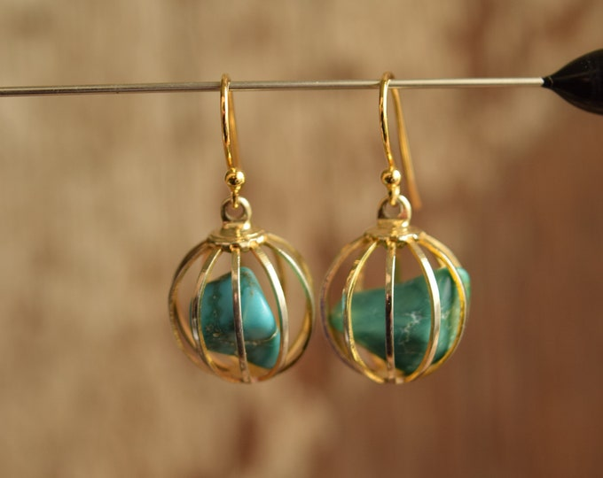 Featured listing image: Caged Turquoise Gold Toned Dangle Earrings - Gemstone Cage Drop Earrings - Gold plated ear wires