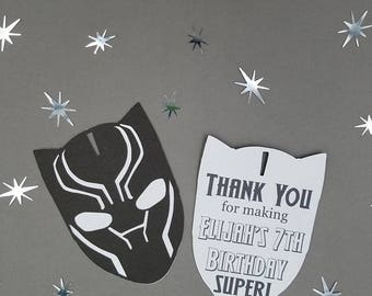 Marvel Black Panther Thank You Tags, Black Panther Thank You, Black Panther Birthday, Black Panther Decor, Marvel SuperHero Party, Set of 10