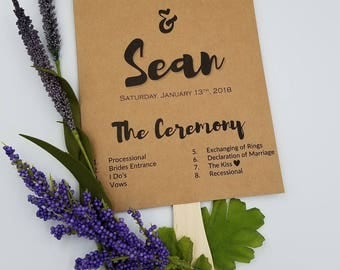 Wedding Program Fan, Calligraphy Script, Kraft Paper, Wedding rustic, Rustic Wedding, Rustic Fan Program, Rustic Program Fan, Wedding Fans