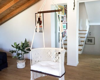 Hanging Chair in Macrame. 1 Year Warranty. Cream cotton ropes, Sustainable dark native wood bars. Fair Trade.  1 hanging point