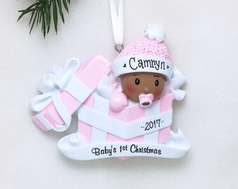 Brown Baby Girl Personalized Christmas Ornament / African American / Baby's 1st Christmas / Baby's First Christmas / New Baby Ornament