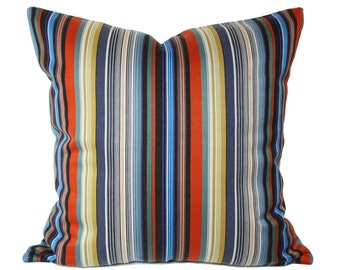 Maharam Paul Smith Ottoman Stripe Dusk pillow cover, Stripes pillow cover, modern pillow covers, multicolor pillow covers, designer pillow