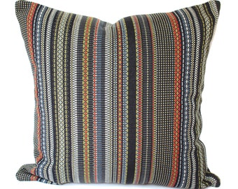 Maharam Paul Smith Point slate and khaki pillow cover, Stripes pillow cover, modern pillow covers, multicolor pillow covers, designer pillow