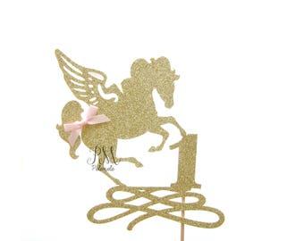 Custom Number Glitter Unicorn Cake Topper - Unicorn Birthday Cake Topper, 1st Birthday, Unicorn Topper, Unicorn Birthday, Unicorn Party
