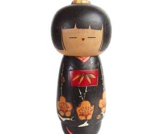 Colorful Japanese Kokeshi Doll with Floral Kimono. Vintage Kokeshi. Japanese Doll. Vintage Japanese. Sosaku Kokeshi. Creative Kokeshi. Wood