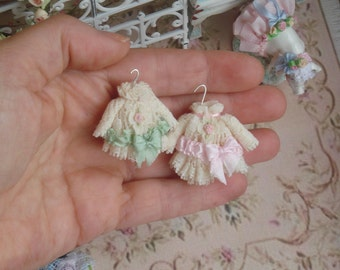 Dollhouse Victorian Tiny Girl Dress on hang. 1:12 Miniature girls and children clothing for Dollhouse collectors.
