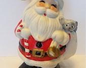 Christmas, ceramic Santa, Decoration, Homco, 1970s Christmas, 1960s Christmas, Made in Taiwan Bank, Santa Bank, Santa Claus, shiny bright