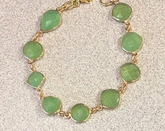 Green Chalcedony Bracelet - Chalcedony Jewelry - Gift for Her - Jewelry Gift - Green Jewelry - Link Bracelet - Gemstone Bracelet - Lime Link