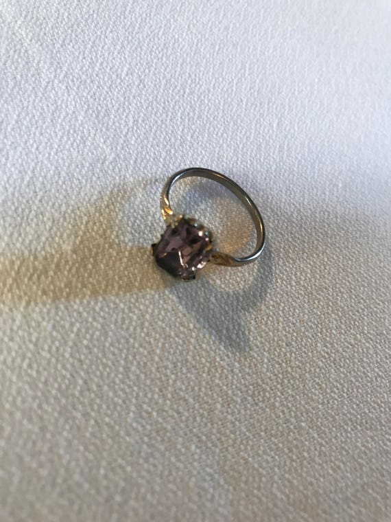 Antique Vintage purple Amethyst Emerald Cut Glass Rhinestone Birth Stone Ring