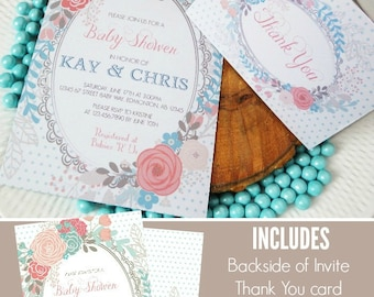 Shabby Chic Baby Shower Invitation | Printable Invitation | Party Printable | Vintage Floral Invitation | Girl | Epic Parties by REVO
