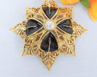 Vintage Monet Gold Tone Faux Pearl and Black Enamel Filigree Brooch / Pin