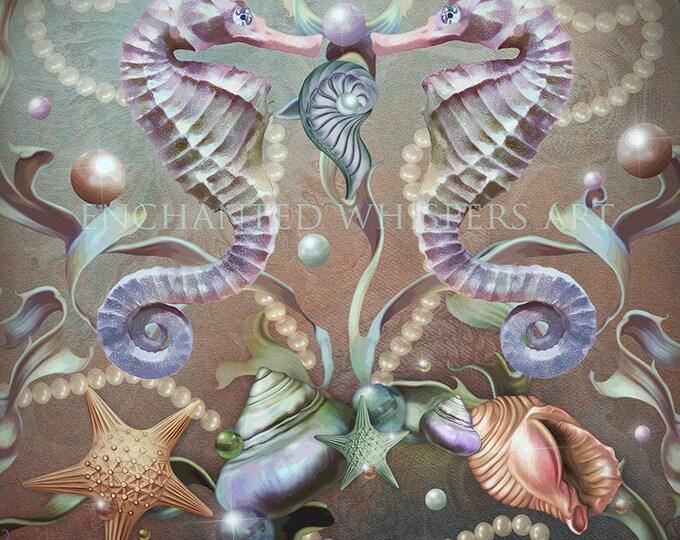 whimsical Seahorse art print