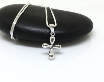 Cross Necklace Sterling Silver Cross Charm Small Pendant Layered Everyday Necklace Silver Cross Jewelry Dainty