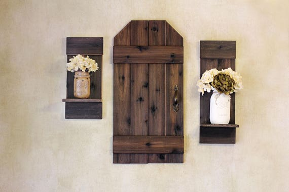 Rustic Barn Door Mini Wood Shutters Wall