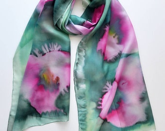 Hand Painted Silk Scarf with pink poppies on a colored background-Shades of green and emerald,hand painted scarves