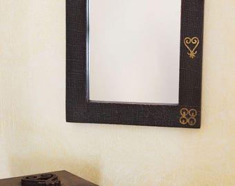 Wooden Adinkra Symbol Mirror from Ghana