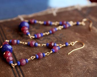 p a r a í s o // Lapis Lazuli & Ruby Earrings // 14k Gold Filled Earrings