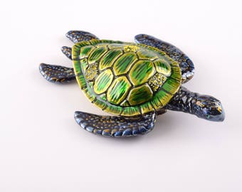 Green Sea Turtle Faberge Style Trinket Box Decorated with Swarovski Crystals Handmade by Keren Kopal